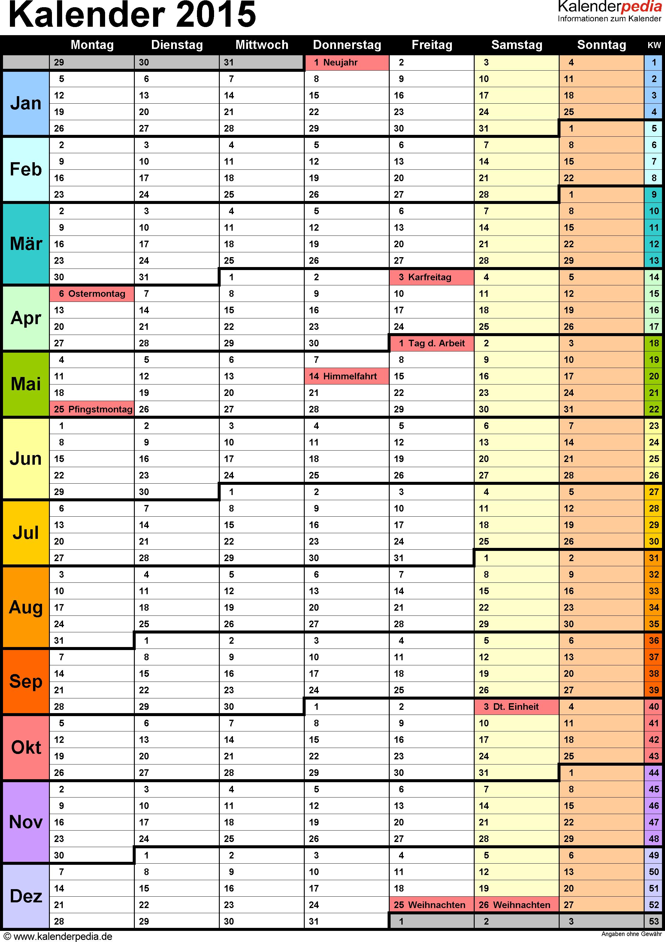 Vorlage 13: Kalender 2015 für <span style=white-space:nowrap;>Excel, Hochformat, 1 Seite, in Farbe, mit Wochengliederung