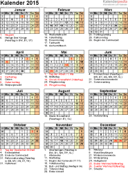 Word-Kalender 2015 Vorlage 16: Jahresansicht, Hochformat, 1 Seite, mit Feiertagen und Festtagen