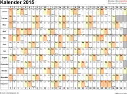 Word-Kalender 2015 Vorlage 3: Querformat, 1 Seite, Tage nebeneinander