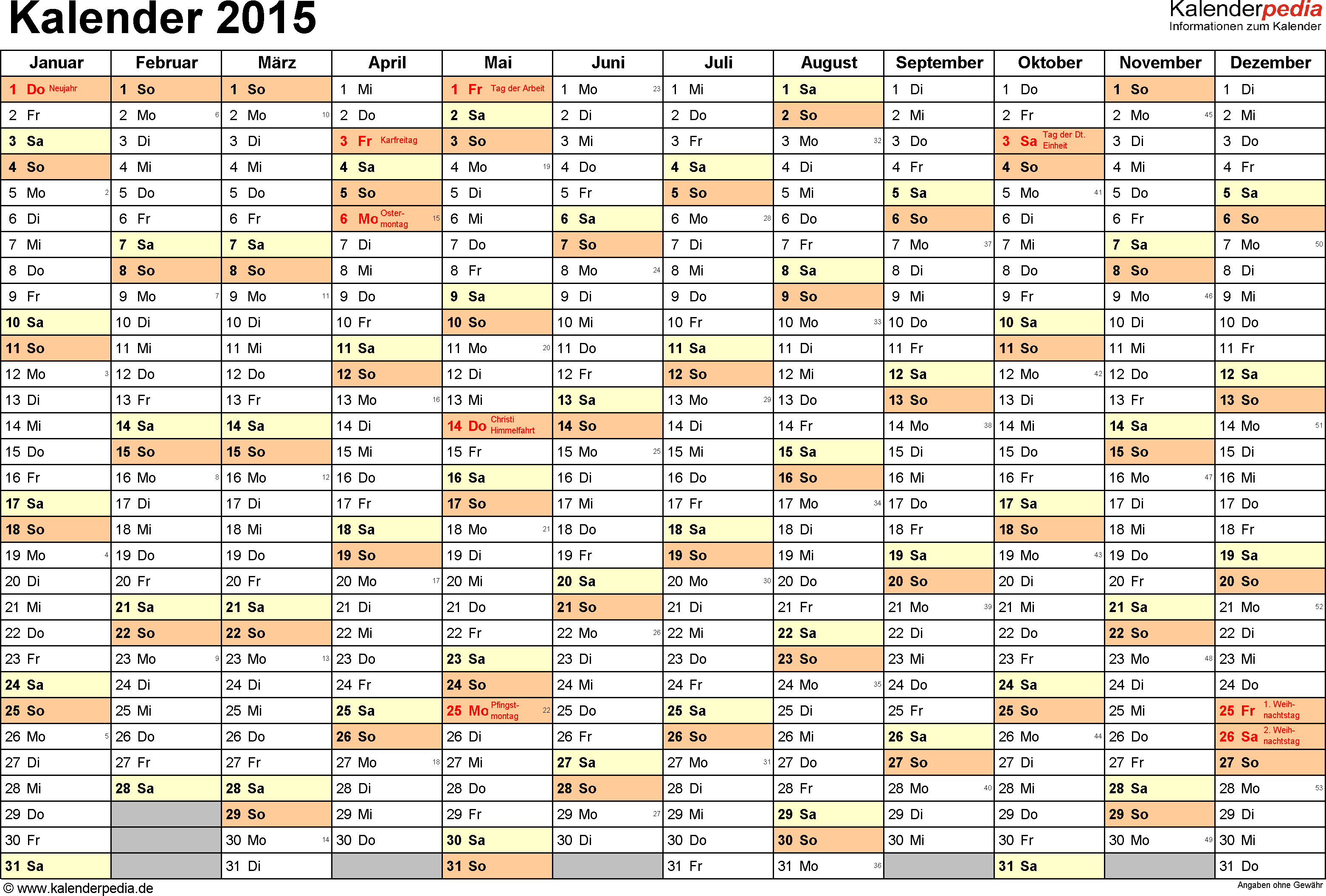 <span style=white-space:nowrap;>Word-Kalender 2015 Vorlage 2: Querformat, 1 Seite, Monate nebeneinander