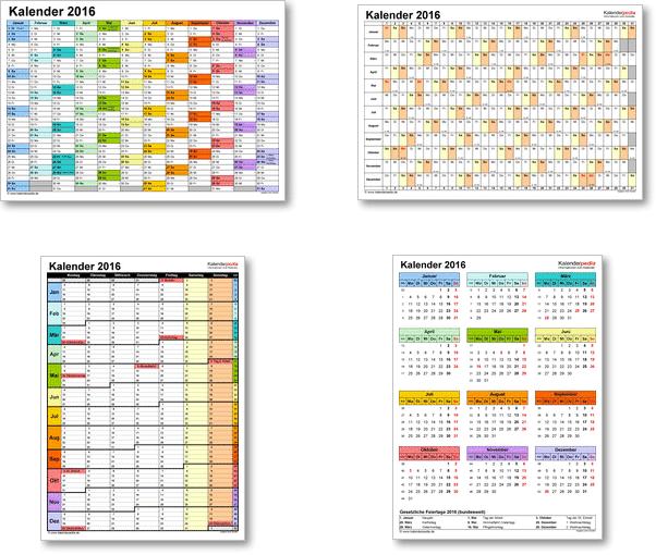 Kalendervorlagen 2016 für Excel