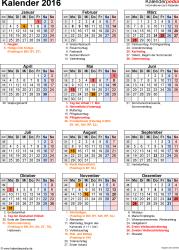 Vorlage 16: Kalender 2016 für Excel, Jahresansicht, Hochformat, 1 Seite, mit Feiertagen und Festtagen