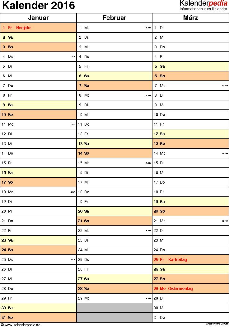 Vorlage 12: Kalender 2016 für <span style=white-space:nowrap;>Excel, Hochformat, 4 Seiten, Quartal auf einer Seite