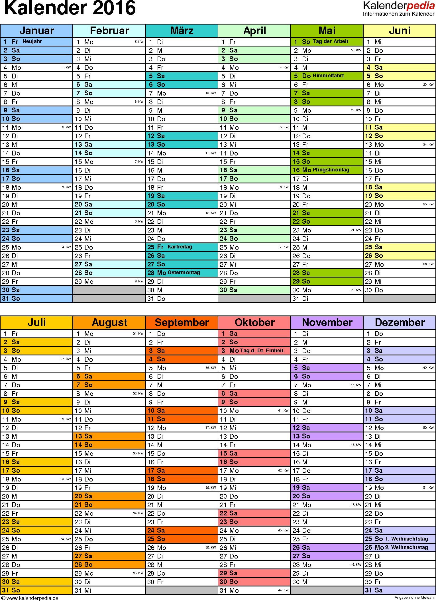 Vorlage 9: Kalender 2016 für Excel, Hochformat, 1 Seite, in Farbe, nach Jahreshälften untergliedert