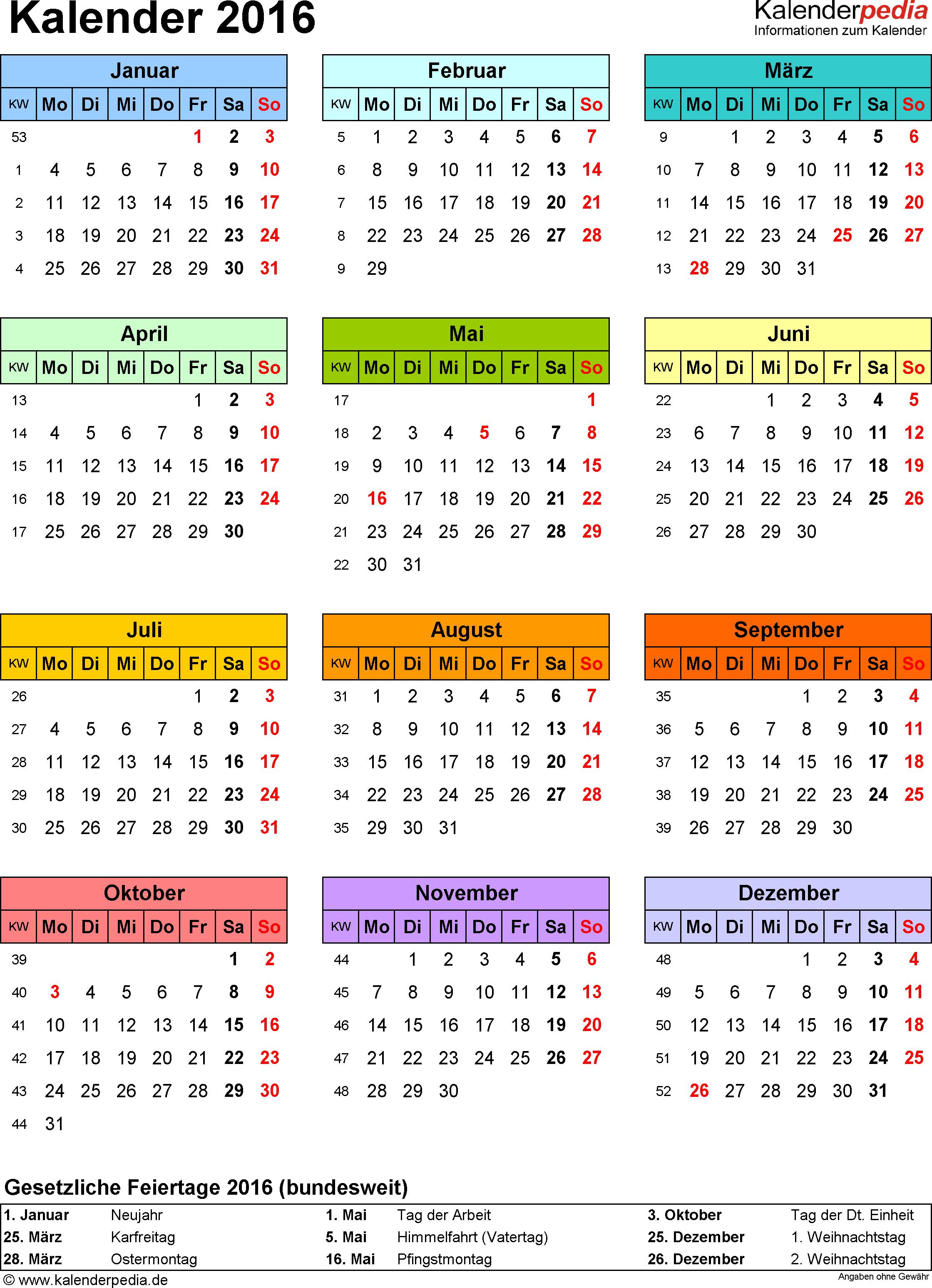 Vorlage 14: Kalender 2016 für <span style=white-space:nowrap;>Excel, Hochformat, 1 Seite, Jahresübersicht, in Farbe