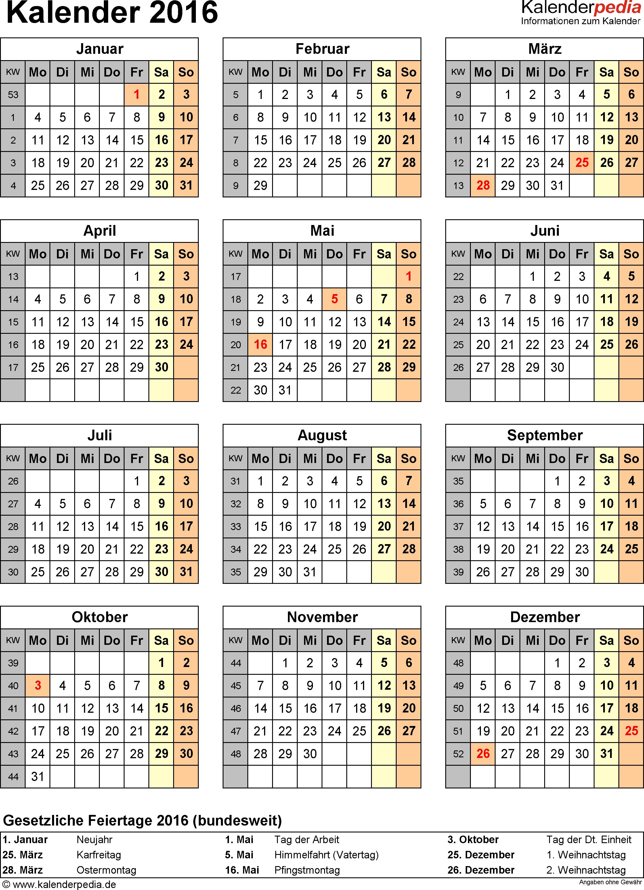 Vorlage 15: Kalender 2016 für <span style=white-space:nowrap;>Excel, Jahresansicht, Hochformat, 1 Seite