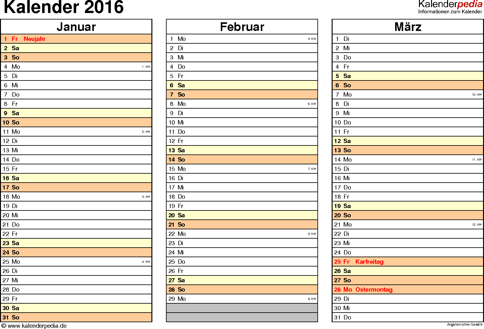 kalender 2016 in excel zum ausdrucken 16 vorlagen. Black Bedroom Furniture Sets. Home Design Ideas