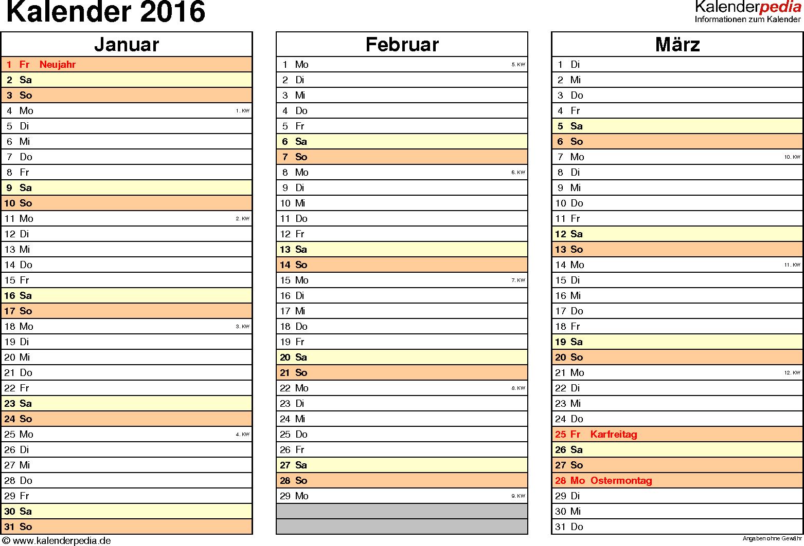 Vorlage 5: Kalender 2016 für <span style=white-space:nowrap;>Excel, Querformat, 4 Seiten, jedes Quartal auf einer Seite
