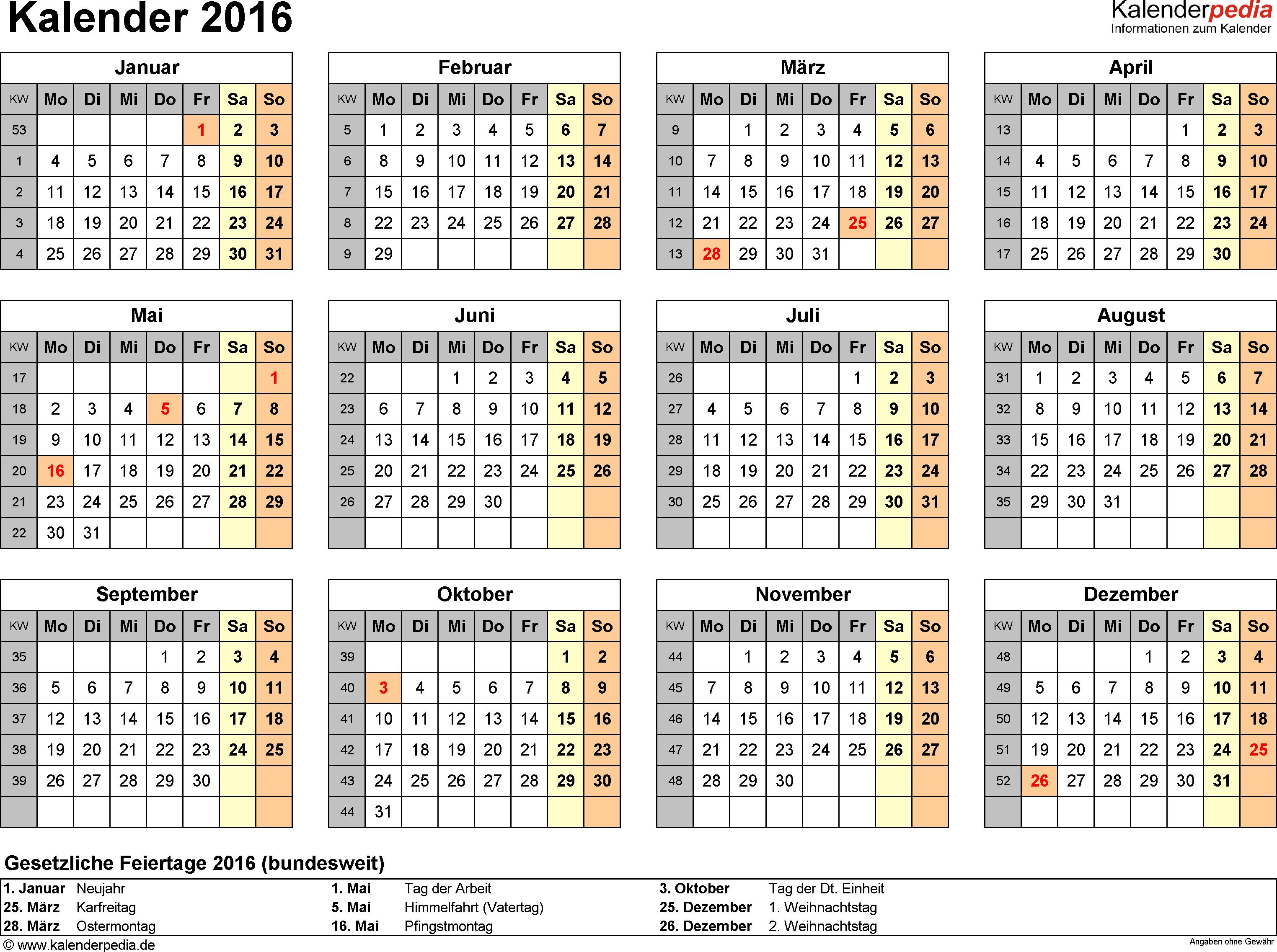 Vorlage 8: Kalender 2016 für <span style=white-space:nowrap;>Excel, Querformat, 1 Seite, Jahresübersicht