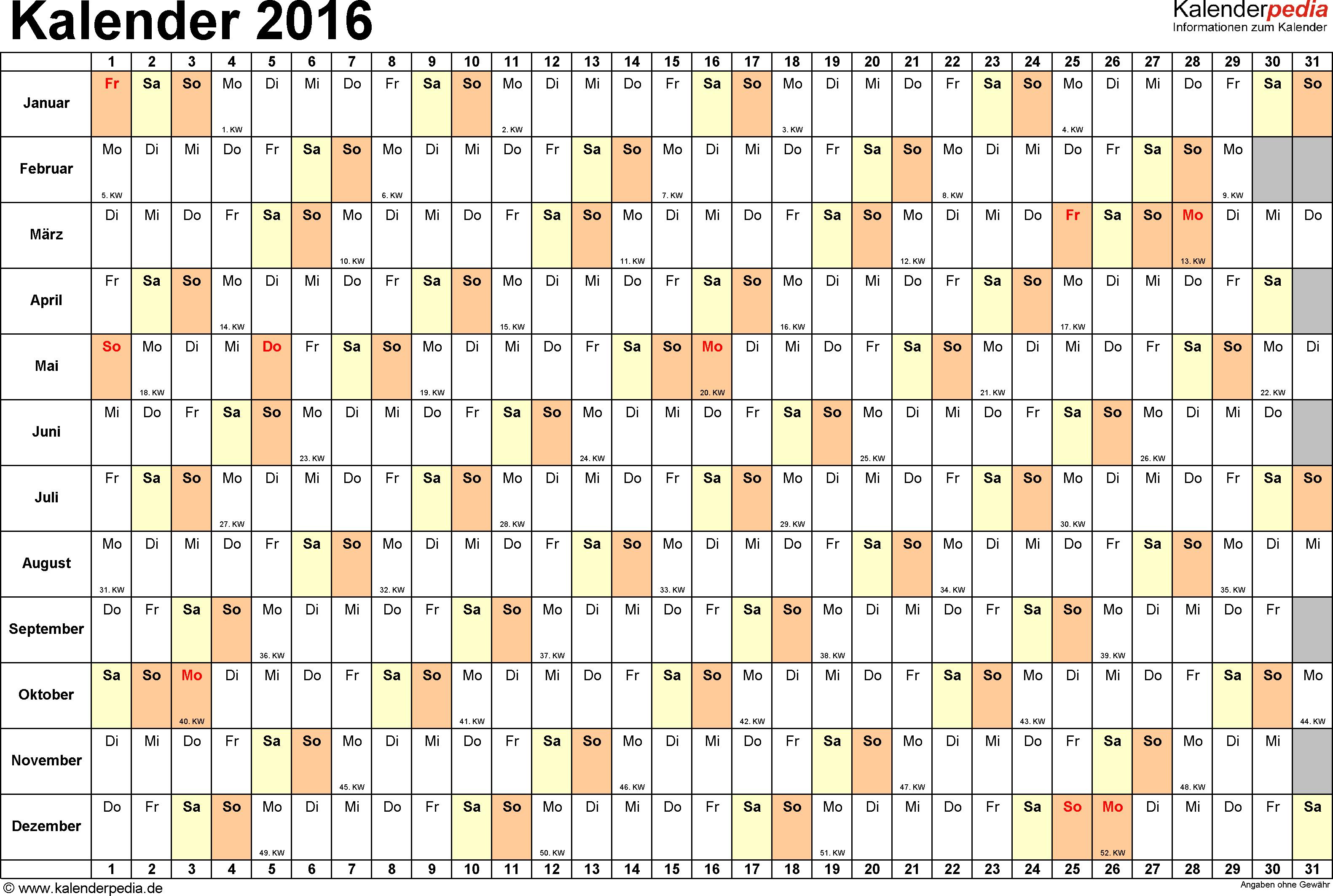 Vorlage 6: Kalender 2016 für <span style=white-space:nowrap;>Excel, Querformat, 1 Seite, Tage nebeneinander