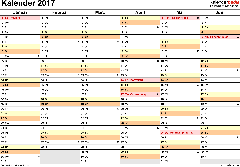 Vorlage 3: Kalender 2017 als PDF-Datei, Querformat, 2 Seiten, 1. Halbjahr (Kalender Januar bis Juni 2017) & 2. Halbjahr (Kalender Juli bis Dezember 2017) auf einen Blick