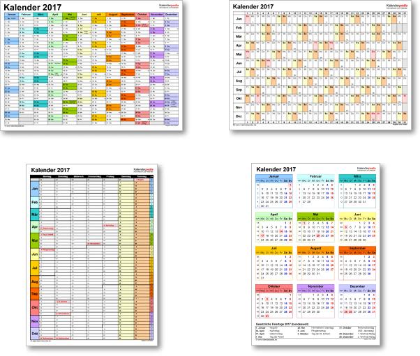 Kalendervorlagen 2017 f�r Excel, Word und PDF