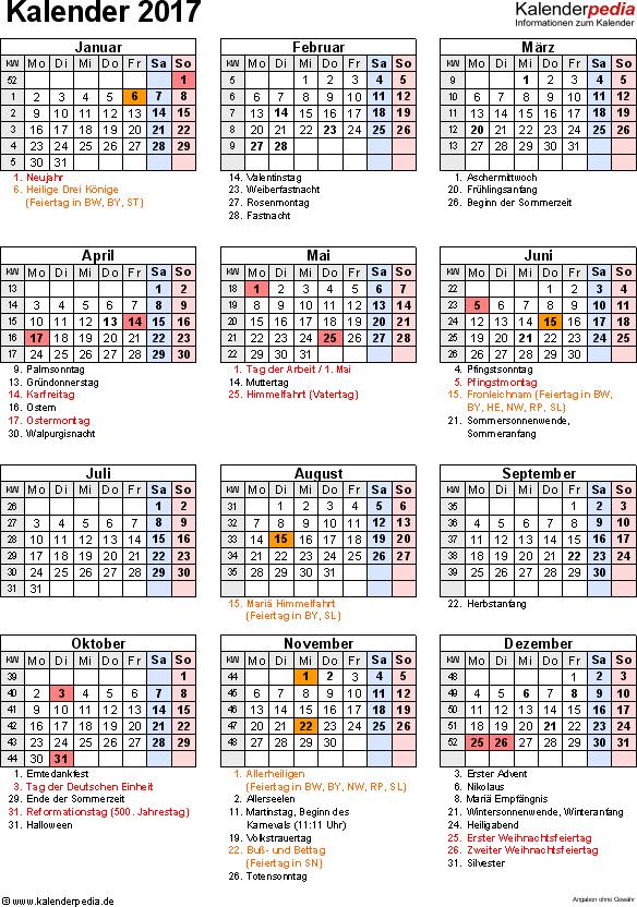 Vorlage 16: Kalender 2017 für Word, Jahresansicht, Hochformat, 1 Seite, mit Feiertagen und Festtagen