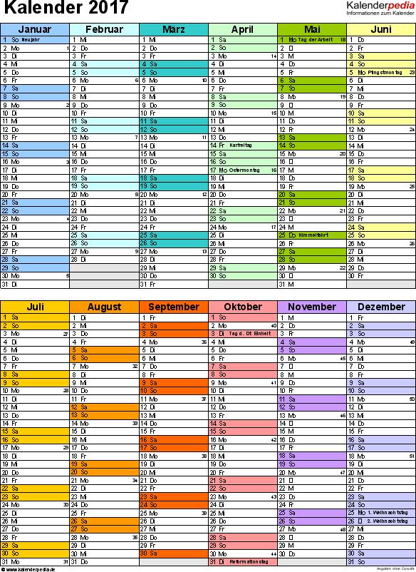 Vorlage 9: Kalender 2017 für Word, Hochformat, 1 Seite, in Farbe, nach Jahreshälften untergliedert