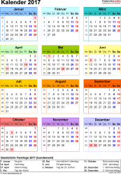 Vorlage 14: Kalender 2017 als PDF-Datei, Jahresansicht, Hochformat, 1 Seite, in Farbe