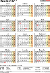 Vorlage 15: Kalender 2017 für Word, Jahresansicht, Hochformat, 1 Seite