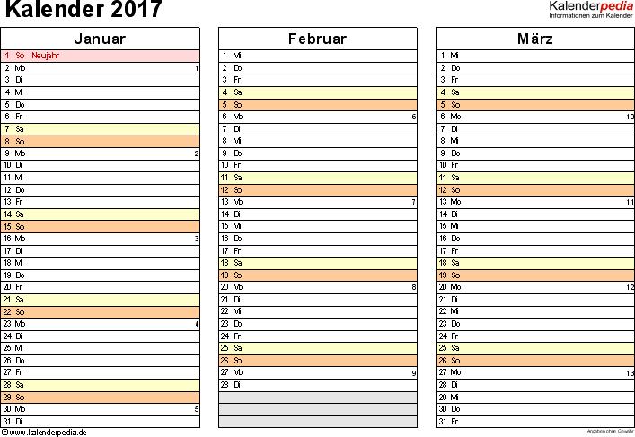 Vorlage 5: Kalender 2017 als PDF-Datei, Querformat, 4 Seiten, jedes Quartal auf einer Seite