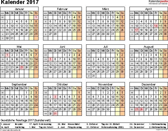 Vorlage 8: Kalender 2017 als PDF-Datei, Querformat, 1 Seite