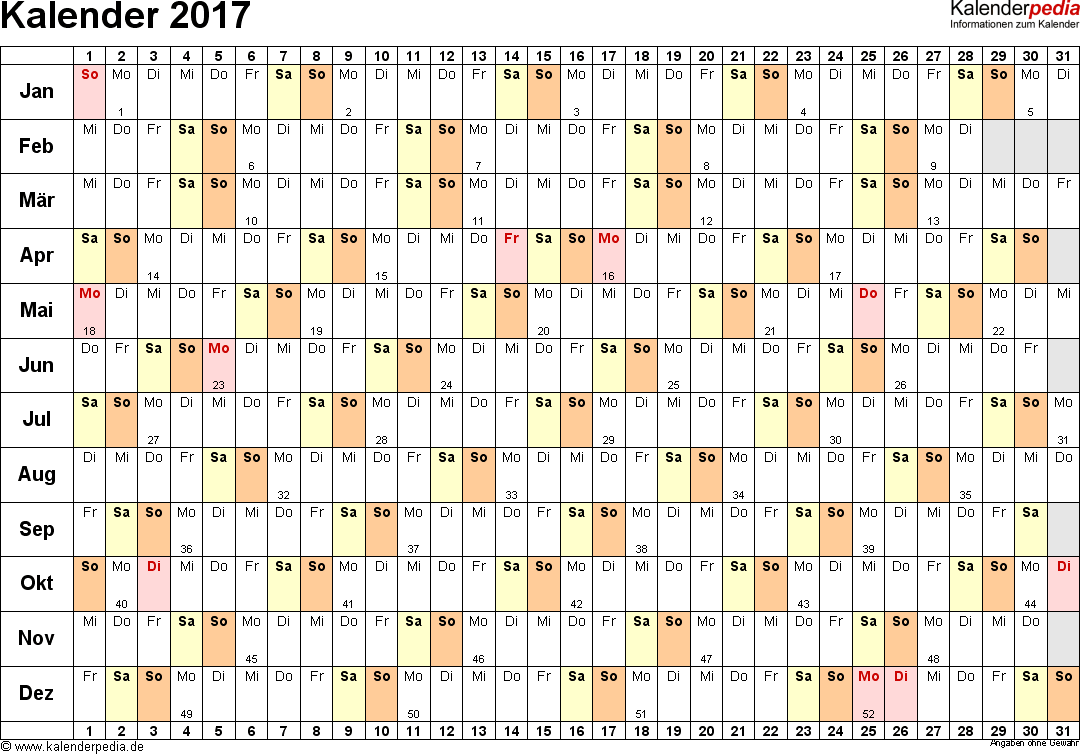 Vorlage 6: Kalender 2017 als PDF-Datei, Querformat, 1 Seite, Tage nebeneinander (linear)
