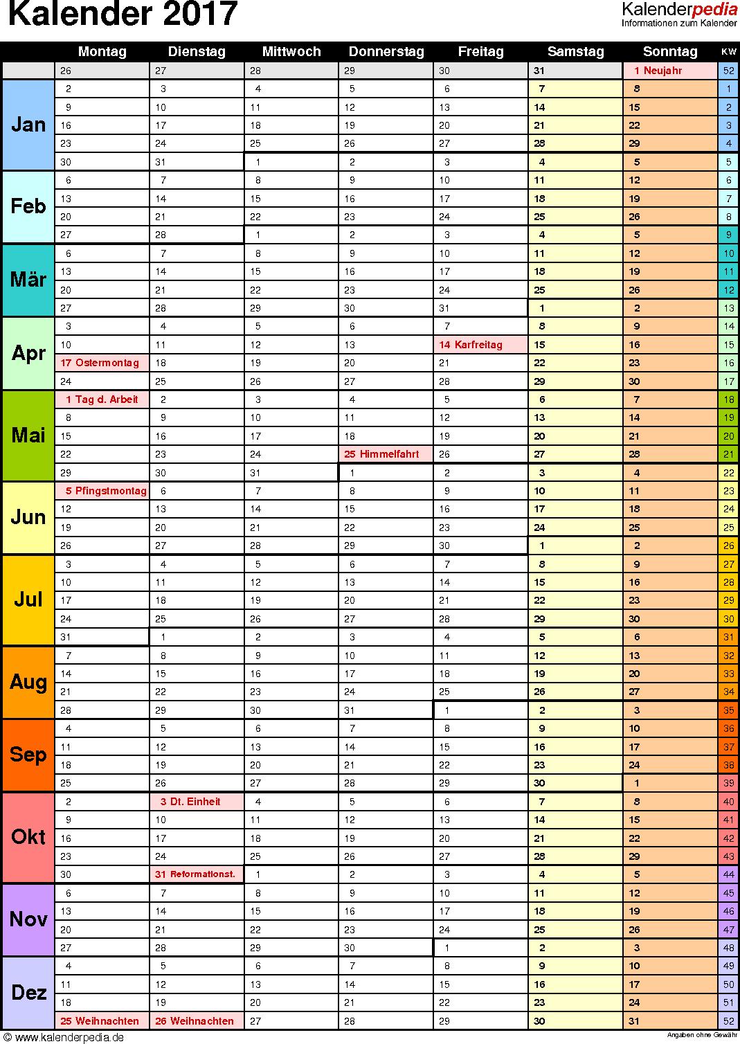 Vorlage 13: Kalender 2017 für Word, Hochformat, 1 Seite, in Farbe, mit Wochengliederung