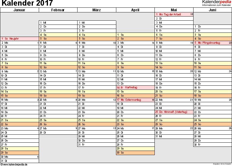 Vorlage 4: Kalender 2017 als PDF-Datei, Querformat, 2 Seiten, Wochentage linear/nebeneinander, 1. Jahreshälfte und 2. Jahreshälfte auf jeweils eigener Seite