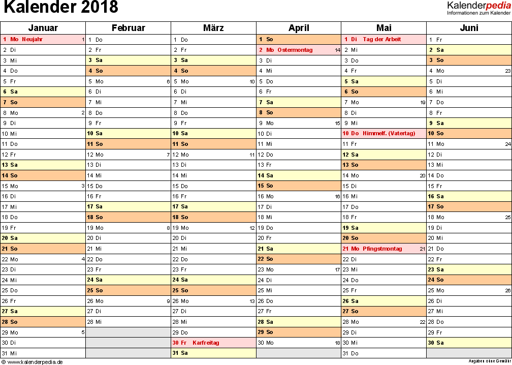 Vorlage 3: Kalender 2018 als <span style=white-space:nowrap;>PDF-Datei, Querformat, 2 Seiten, 1. Halbjahr (Januar bis Juni 2018) & 2. Halbjahr (Juli bis Dezember 2018) auf einen Blick