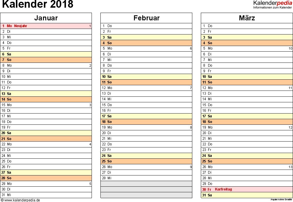 Vorlage 5: Kalender 2018 für Excel, Querformat, 4 Seiten, jedes Quartal auf einer Seite