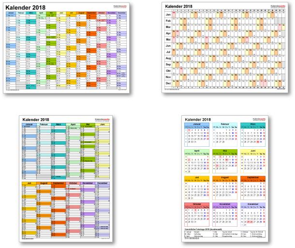 Kalendervorlagen 2018 für Excel