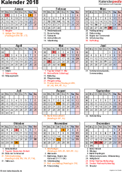 Vorlage 16: Kalender 2018 als PDF-Datei, Hochformat, 1 Seite, mit Feiertagen und Festtagen