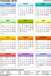 Vorlage 14: Kalender 2018 als Microsoft Word-Datei (.docx), Hochformat, 1 Seite, Jahresübersicht, in Farbe