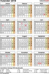 Vorlage 15: Kalender 2018 für Excel, Jahresansicht, Hochformat, 1 Seite