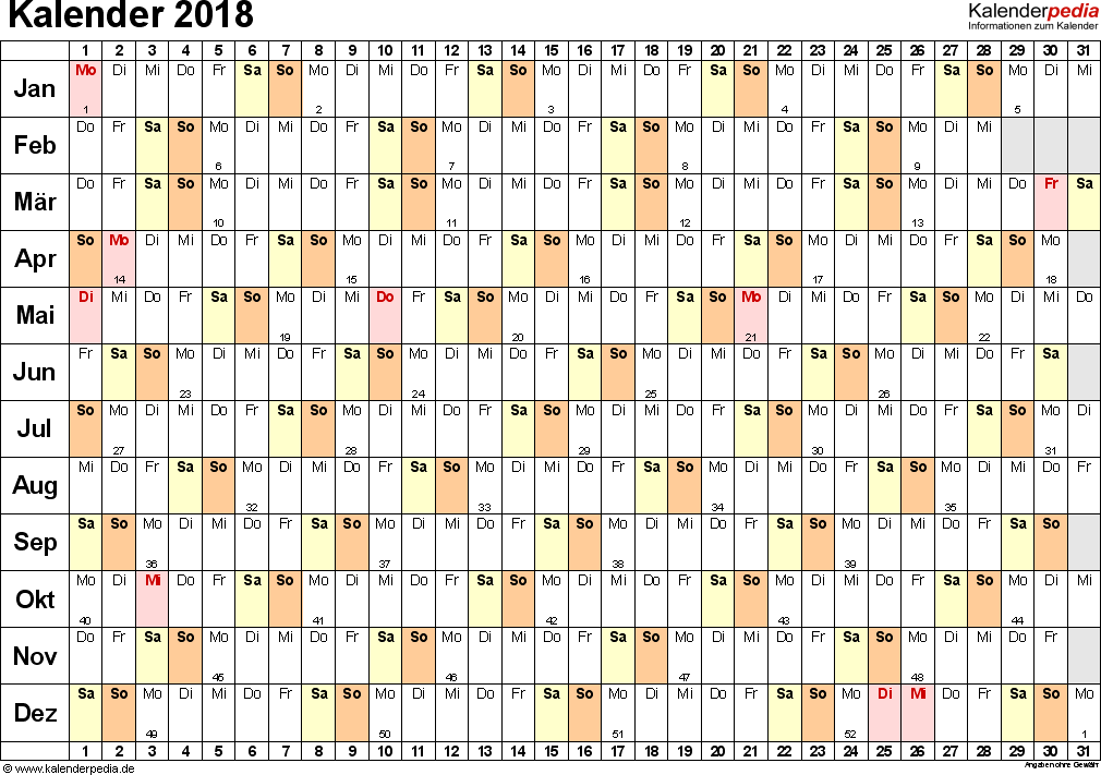Vorlage 6: Kalender 2018 als <span style=white-space:nowrap;>PDF-Datei, Querformat, 1 Seite, Tage nebeneinander (linear)
