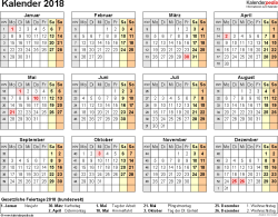 Vorlage 8: Kalender 2018 als <span style=white-space:nowrap;>PDF-Datei, Querformat, 1 Seite, Jahresübersicht