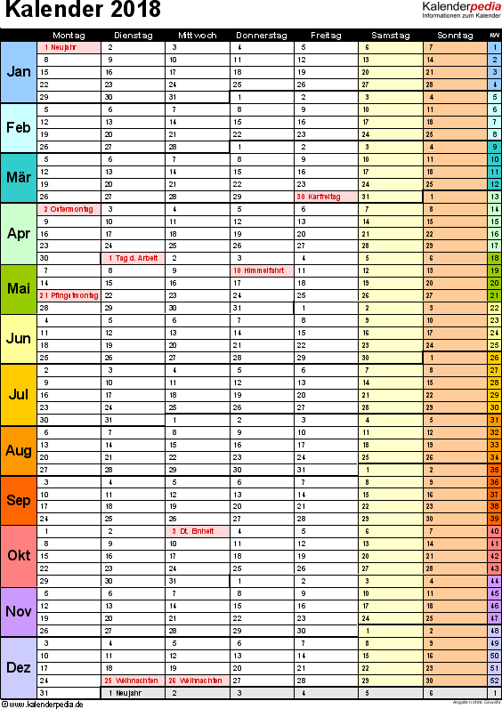 Vorlage 13: Kalender 2018 als <span style=white-space:nowrap;>PDF-Datei, Hochformat, 1 Seite, in Farbe, mit Wochengliederung