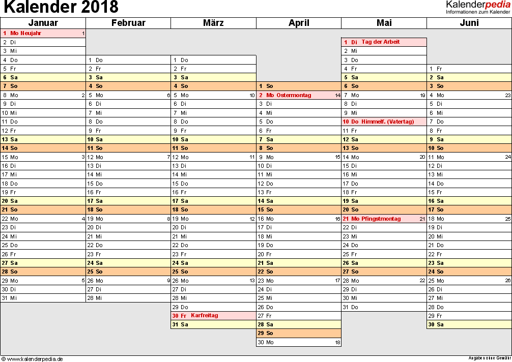 Vorlage 4: Kalender 2018 für Excel, Querformat, 2 Seiten, Wochentage linear/nebeneinander, 1. Jahreshälfte und 2. Jahreshälfte auf jeweils eigener Seite
