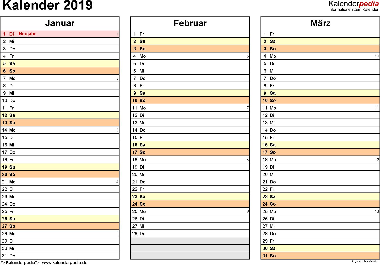 Vorlage 6: Kalender 2019 für Excel, Querformat, 4 Seiten, jedes Quartal auf einer Seite