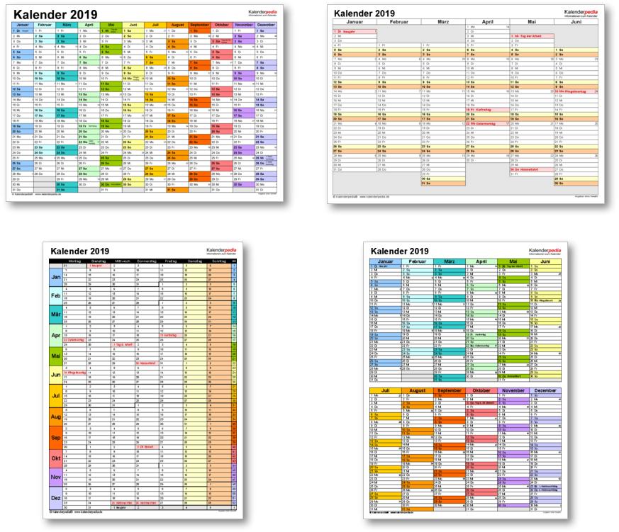 Kalendervorlagen 2019 für Excel