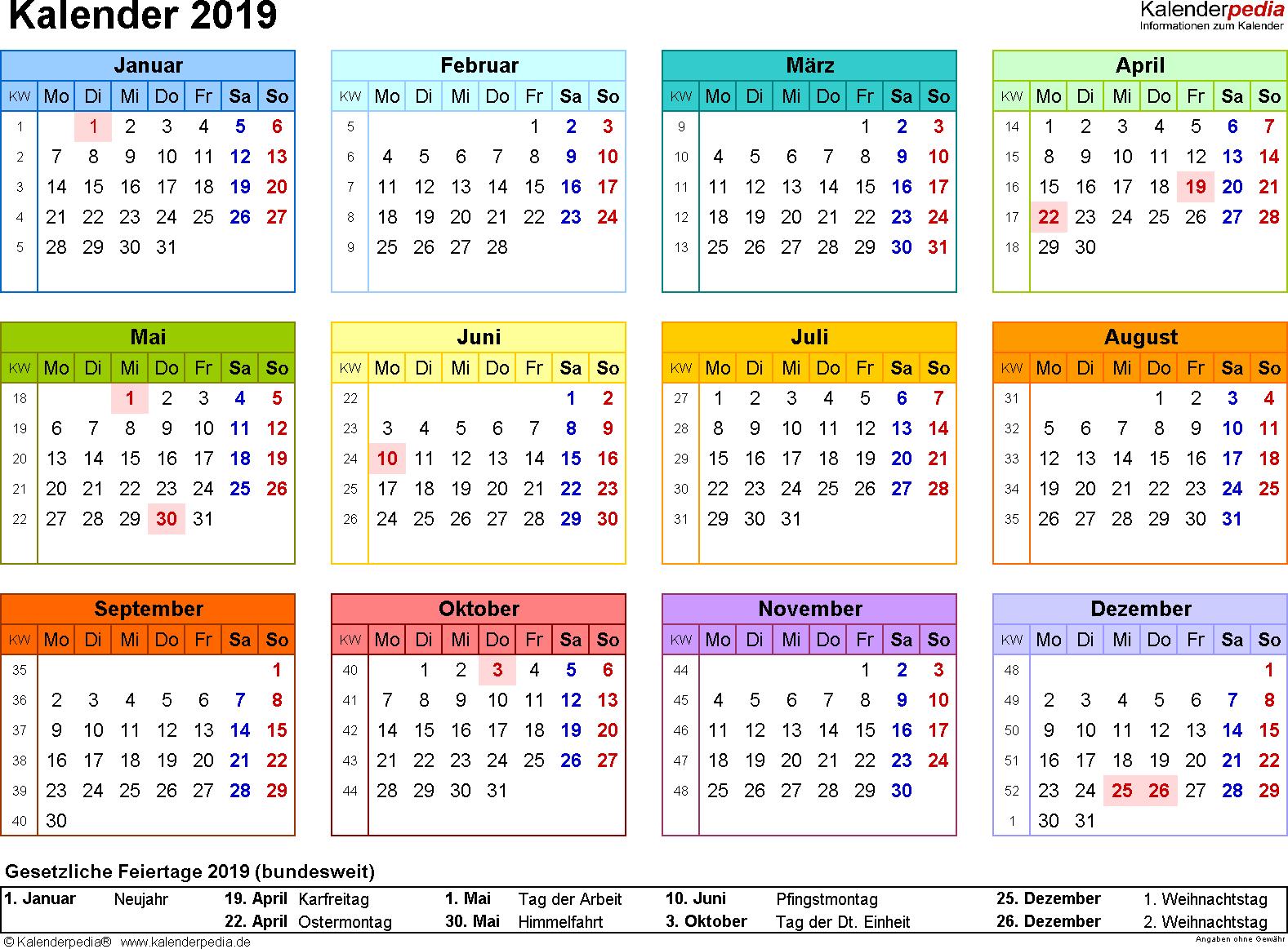 Vorlage 8: Kalender 2019 für Word, Querformat, 1 Seite, in Farbe