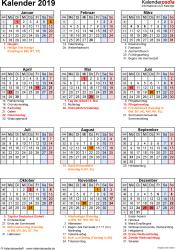 Vorlage 16: Kalender 2019 für Excel, Hochformat, 1 Seite, mit Feiertagen und Festtagen