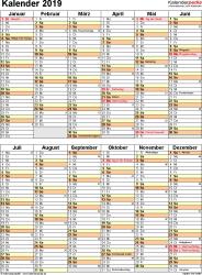 Vorlage 11: Kalender 2019 für Excel, Hochformat, 1 Seite, nach Jahreshälften untergliedert