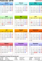 Vorlage 16: Kalender 2019 für Word, Jahresansicht, Hochformat, 1 Seite, in Farbe