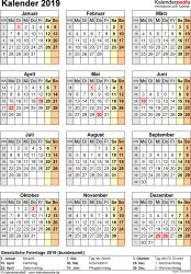 Vorlage 15: Kalender 2019 für Excel, Jahresansicht, Hochformat, 1 Seite