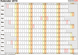 Vorlage 7: Kalender 2019 als PDF-Datei, Querformat, 1 Seite, Wochentage untereinander