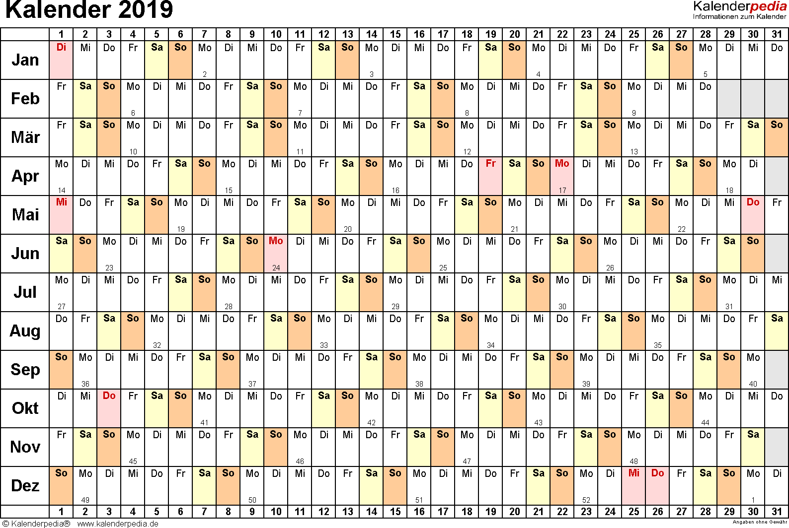 Vorlage 3: Kalender 2019 als PDF-Datei, Querformat, 1 Seite, Tage nebeneinander (linear)