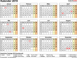 Vorlage 8: Kalender 2019 für Excel, Querformat, 1 Seite