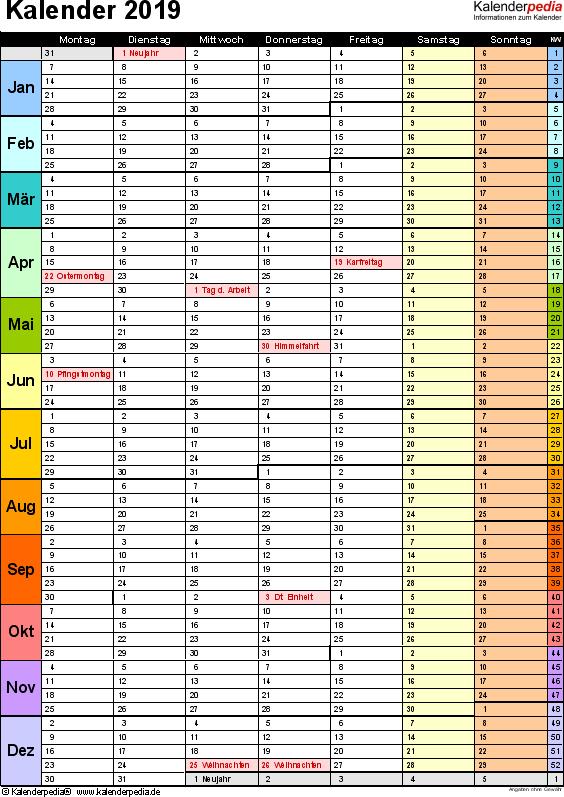 Vorlage 15: Kalender 2019 für Word, Hochformat, 1 Seite, in Farbe, mit Wochengliederung