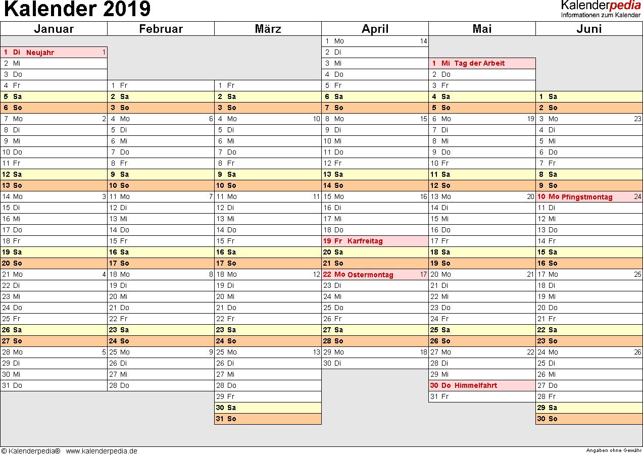 Vorlage 4: Kalender 2019 als PDF-Datei, Querformat, 2 Seiten, Wochentage linear/nebeneinander, 1. Jahreshälfte und 2. Jahreshälfte auf jeweils eigener Seite