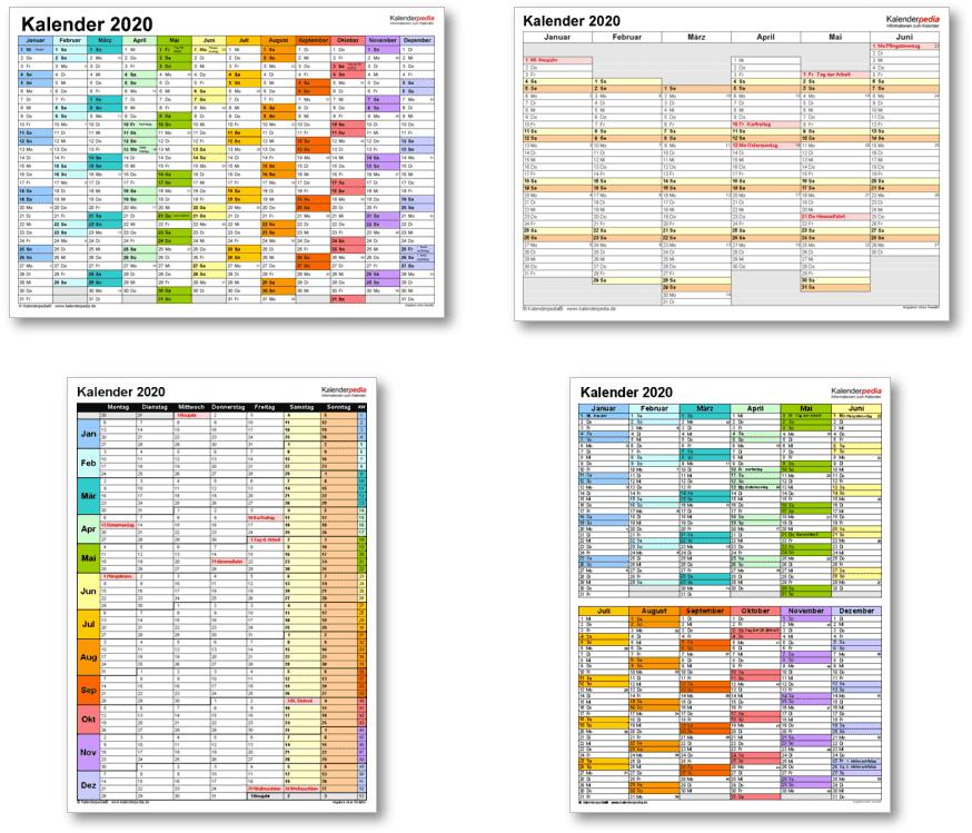 Kalendervorlagen 2020 für Excel