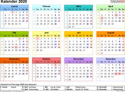 Vorlage 8: Kalender 2020 als <span style=white-space:nowrap;>PDF-Datei, Querformat, 1 Seite, Jahresübersicht, in Farbe