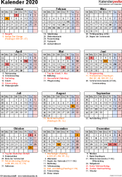 Vorlage 17: Kalender 2020 für Excel, Hochformat, 1 Seite, mit Feiertagen und Festtagen